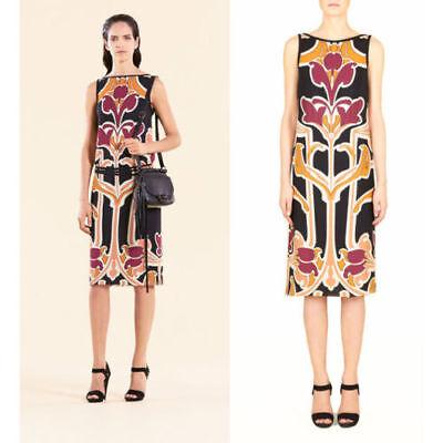 NWT AUTHENTIC $1900 GUCCI Sz 38 Black Silk ART DECO FLORAL NOUVEAU Belted Dress