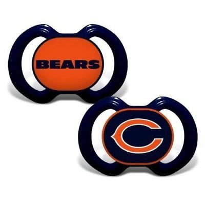 Chicago Bears 2 Pack Baby Infant Orthodontic Pacifier Set Nfl Football