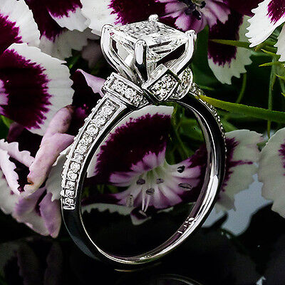 1 CT Diamond Engagement Ring Princess Cut D/SI 14K White Gold Enhanced