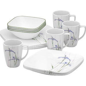 NEW Corelle Square Round 16 Piece Dinnerware Set Shadow Iris Service For 4