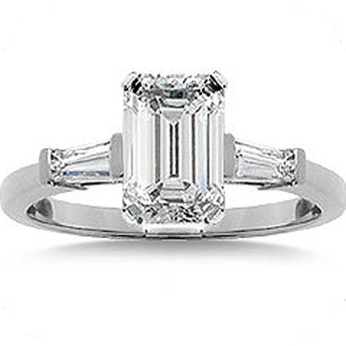 0.80 ct, 0.56 carat Emerald cut Diamond Ring 14k White Gold 2 Baguette, GIA E VS