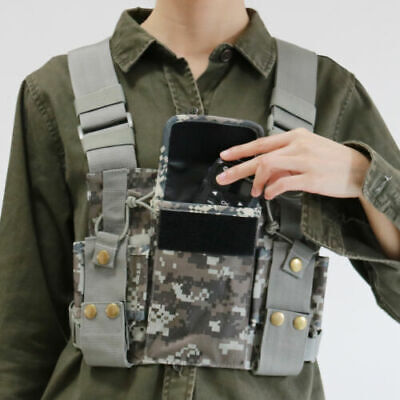 Camouglage Chest Harness Front Pack Pouch Holster For Motorola Radio