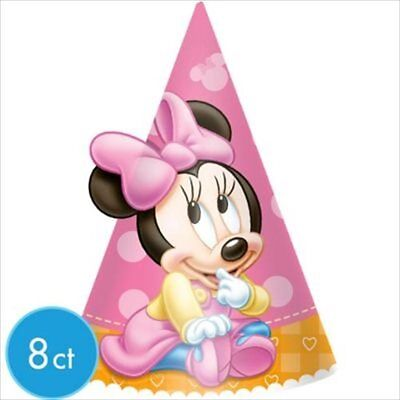 MINNIE MOUSE 1ST BIRTHDAY CONE HATS (8) ~ Party Supplies Favors Pink First Girl - Minnie Mouse Birthday Hats