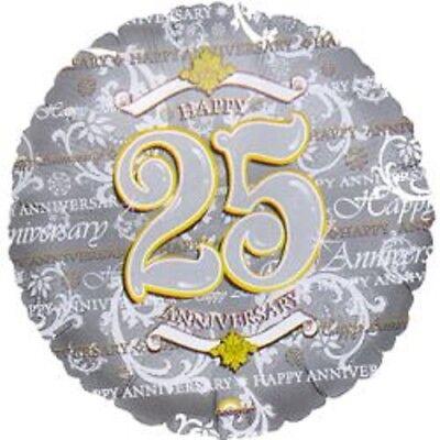 (3) Three- 25th Wedding Anniversary Mylar Balloons- Choice #1 (25th Wedding Anniversary Balloons)