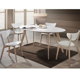 NEW **RRP £399** High Gloss Oval 4 Seater Dining Set, 4 Chairs White & Natural Solid Rubberwood