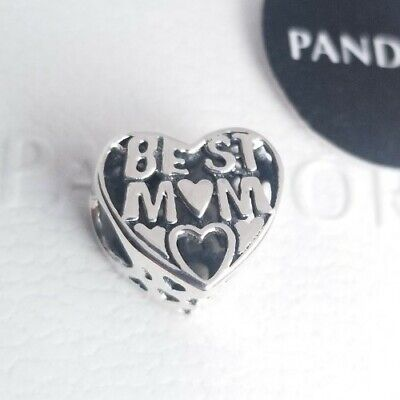 PANDORA Heart Best Mom Sterling Silver Charm 791882 AUTHENTIC NWT WITH POUCH