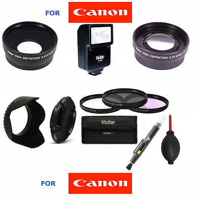 52MM WIDE ANGLE LENS + TELEPHOTO ZOOM LENS + FLASH + FILTER KIT FOR CANON EOS (Cheap Ultra Wide Angle Lens For Canon)