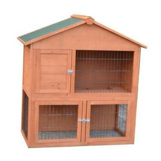 Two Storey Large Rabbit Ferret Guinea Pig Cage Hutch open roof