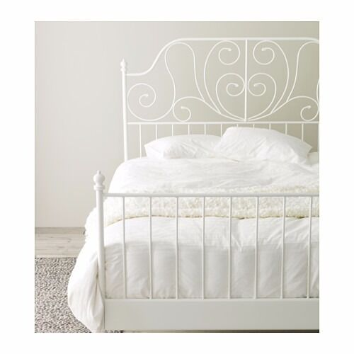 Ikea White Steel Bed Frame And Standard Double Mattress