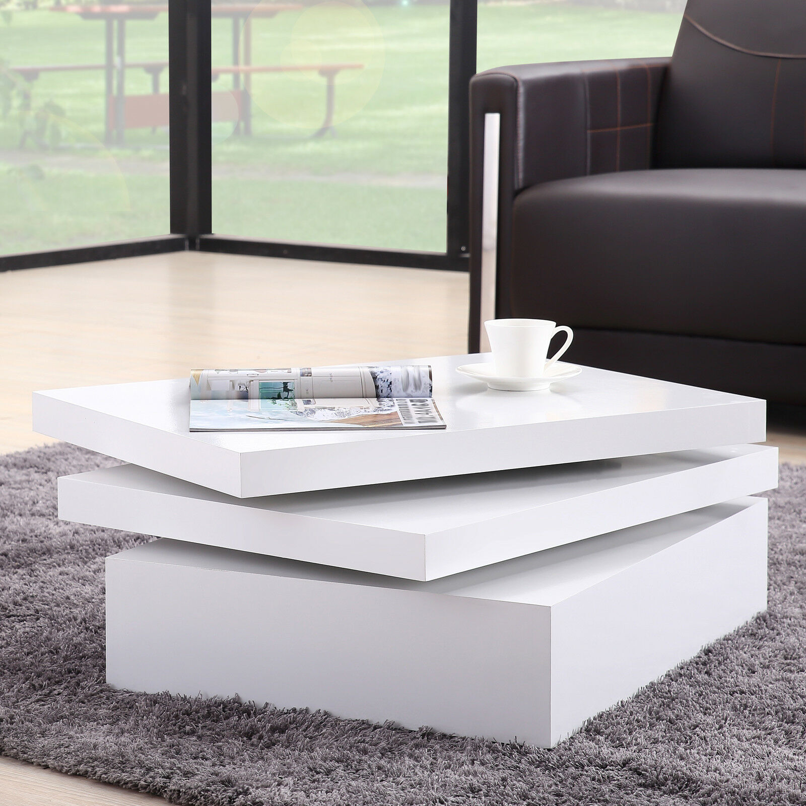 Modern White Square Rotating Coffee Table Contemporary Living Room ...