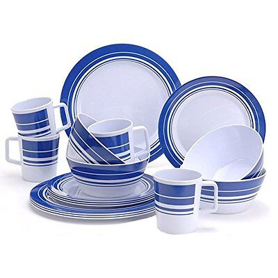 16 Piece Melamine Camping Caravan Picnic Outdoor Dining Dinner Plate Set