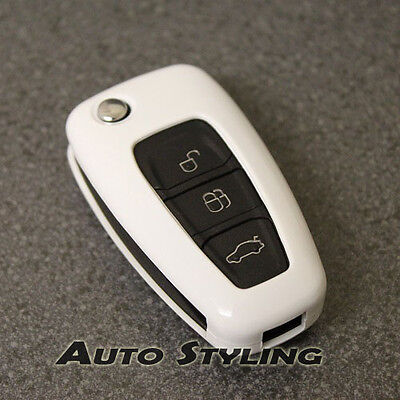 White Key Cover Case for Ford Remote Protector Flip Fob Hull 2 3 Button Bag 47gw