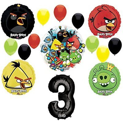 Angry Birds 3rd Birthday Party Supplies and Group See-Thru Balloon Decorations - Angry Bird Birthday Supplies