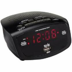 SXE Black Digital FM Clock Radio with Dual Alarm and USB Charging Port US Seller