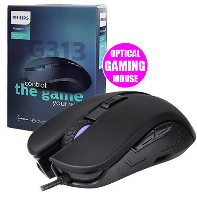 Philips G313 Gaming Mouse 6 Button USB Wired with Ambiglow 2400 DPI LED Lighting