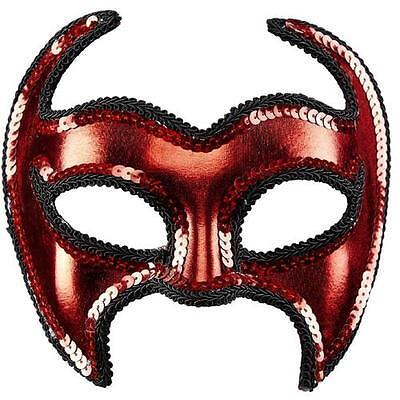 metallfarbene UNISEX TEUFELSMASKE mit PAILETTENRAND Augenmaske Halloween