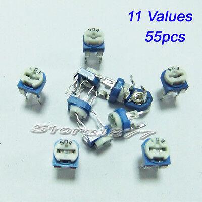 Variable Resistor Assorted Kit 11 Values 55pcs Potentiometers 200500kohm Vr001