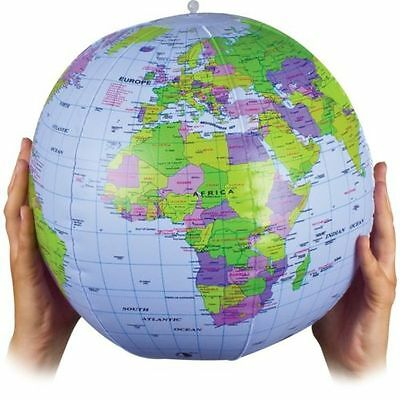 Large 40cm Inflatable World Earth Globe Atlas Map Geography Beach Ball Toy