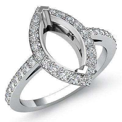 Diamond Engagement Filigree Ring Marquise Semi Mount 14k W Gold Halo Pave 0.45Ct