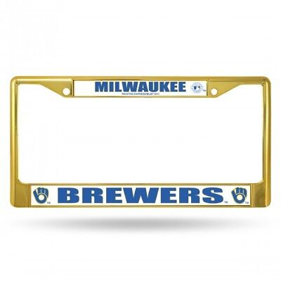Milwaukee Brewers Metal License Plate Frame Car Truck Tag Holder NEW Retro Gold