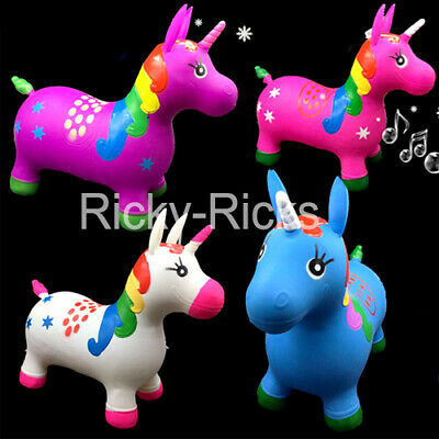 - Inflatable Hopper Unicorn Musical Horse Bouncy Pony Kids Jumping Toy Bouncer