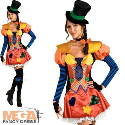 Hobo Clown + Hat Ladies Fancy Dress Circus Carnival Womens Adult Costume Outfit