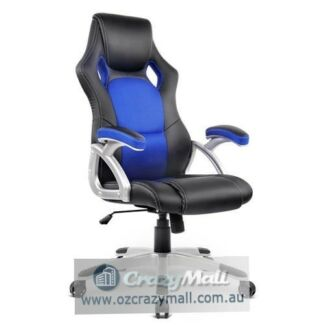 PU Leather Mesh Racing Style Office Chair Blue/Red