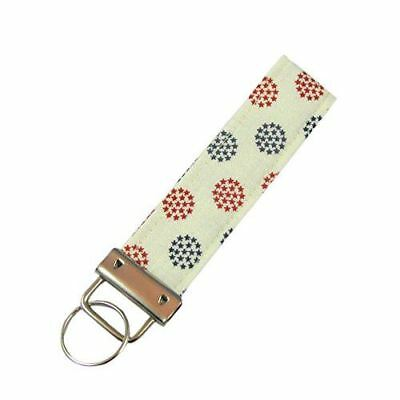 - Patriotic Americana Stars Key Fob/Fabric Key Chain Red, White and Blue