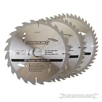 Circular Saw Blades 210mm 30mm Bore With 25 16mm Rings 24 40 48teeth Blades