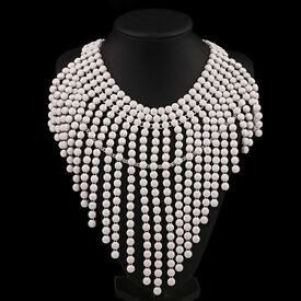 Exaggerate White Multilayer beads Weave Tassel Necklace