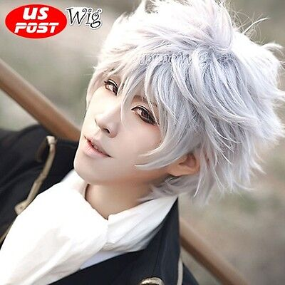 Short White Layered Hair Men Anime Cosplay Wig For Party](White Hair Wig)