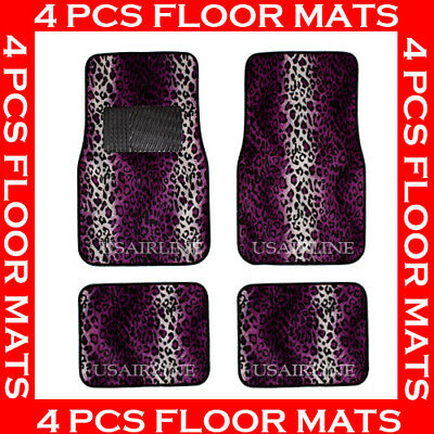 4 PCS LEOPARD PURPLE CARPET FLOOR MATS FOR CAR SUV BEST QUALITY
