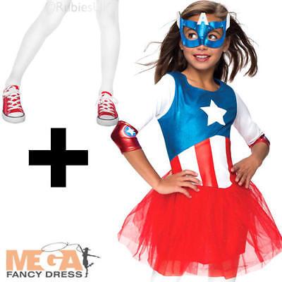 Captain America + Tights Girls Fancy Dress Marvel Superhero Kids Childs Costume - Captain America Costume For Girl