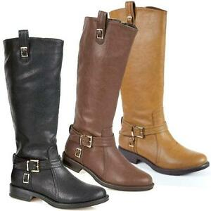 womens black leather look low heel biker flat