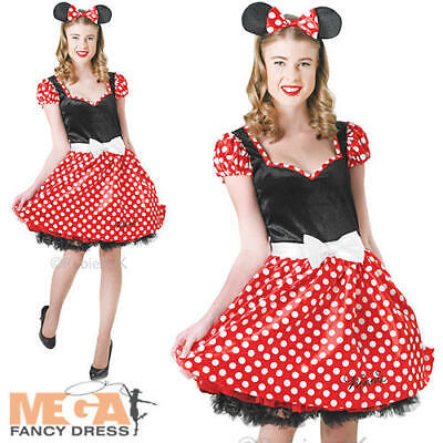 Minnie Mouse + Ears Ladies Fancy Dress Disney Animal Character Adults Costume  - Disney Character Fancy Dress Adults