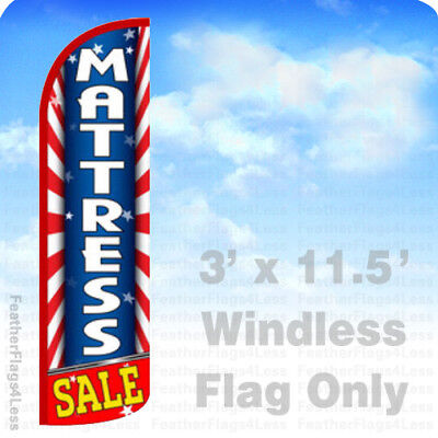 Mattress Sale - Windless Swooper Flag Feather Banner Sign 3x11.5 Starburst Bq
