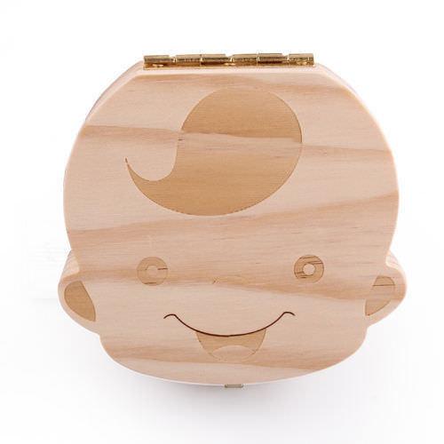 как выглядит Boy Girl Kids Tooth Box organizer for baby Save Milk teeth Wood Storage Box фото