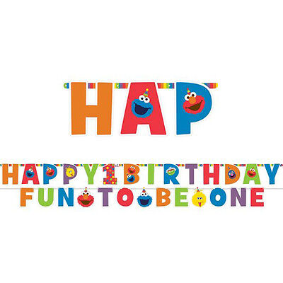 SESAME STREET Elmo Turns One JUMBO LETTER BANNER KIT ~ Birthday Party Supplies](Sesame Street Birthday Banner)