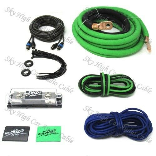 Oversized 1/0 Ga Amp Kit Twisted RCA Green Black Complete Sky High Car Audio
