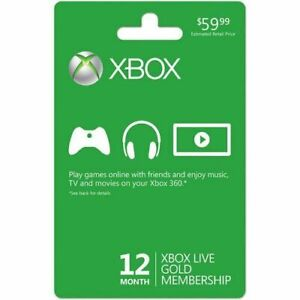 Microsoft 12 Month Xbox Live Gold Membership Subscription Qu