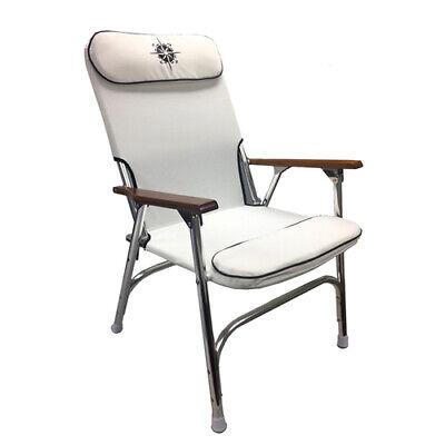 Gen3 Marine White or Navy Padded Aluminum Deck Chair - High -