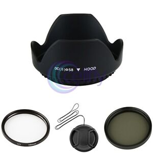 58mm UV Ultra Violet+CPL Filter+Cap Cover+Hood Kit for Canon EOS 18-55mm Lens