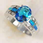 White Gold Blue Topaz Ring