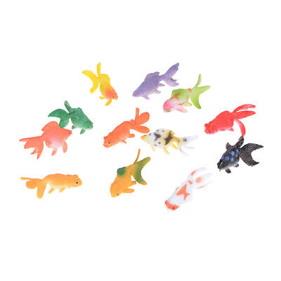 12pcs Plastic Gold Fish Figures Model Kids Party Gift Simulated Ocean Animals As