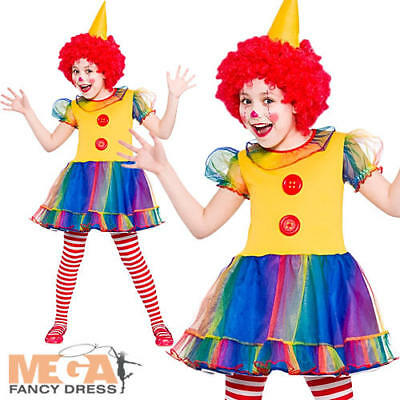 Cute Little Clown Girls Fancy Dress Funny Circus Kids Childs Costume Outfit - Little Girl Clown Costumes