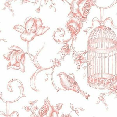 Bird Bird Cage Floral Wallpaper in Pink  Double Roll