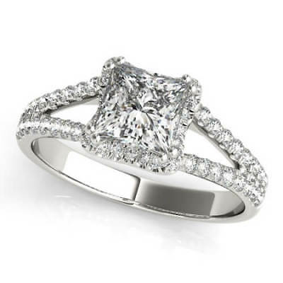 Gorgeous 1.25 Ct Princess Cut Diamond Split Shank Engagement Ring G, VS2 GIA