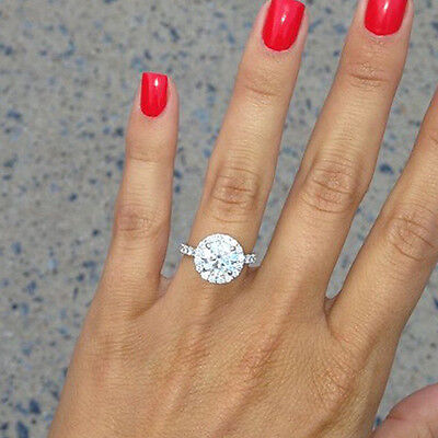 2.20 Ct. Natural Round Cut Halo Pave Diamond Engagement Ring - GIA Certified