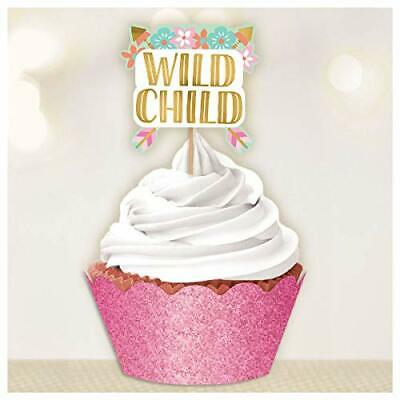 BOHO BIRTHDAY CUPCAKE Wrappers Toppers  Party Decorations Wild Child Cake Picks](Boho Birthday Party)