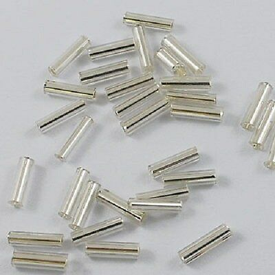 50g x Silverlined Silver Glass Bugle Beads1.8mm x 6mm, Beading, Jewellery Making